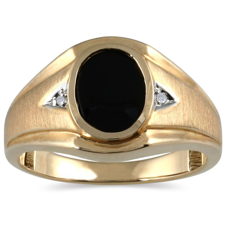 Marquee Jewels 10k Yellow Gold Onyx and Diamond Men's Ring
