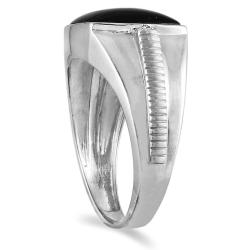 Marquee Jewels 10k White Gold Onyx and Diamond Men's Ring - Thumbnail 1