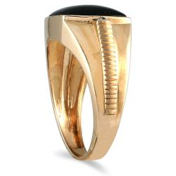 Marquee Jewels 10k Yellow Gold Men's Onyx and Round-cut Diamond Accent Ring - Thumbnail 1