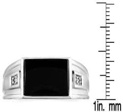 Marquee Jewels 10k White Gold Onyx and Diamond Accent Men's Ring