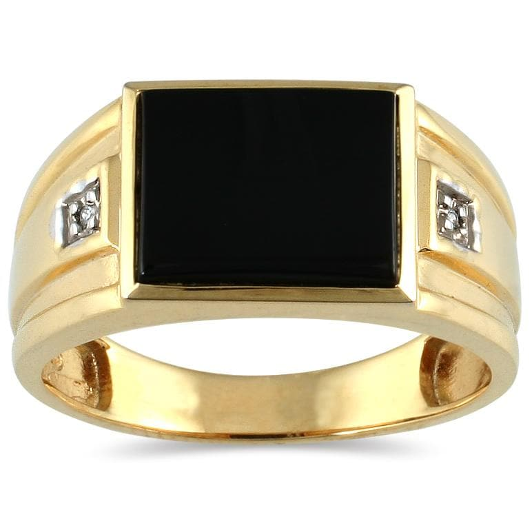 Marquee Jewels 10k Yellow Gold Men's Onyx and Diamond Accent Ring