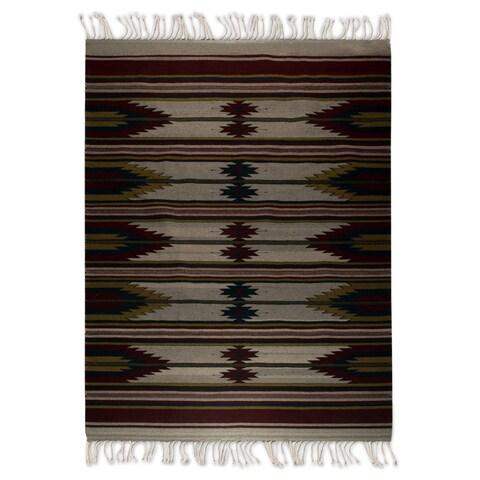 Handmade Vino Mexican Wool Rug 6 x 9.6 Ft. (Mexico) - 6' x 9.5'