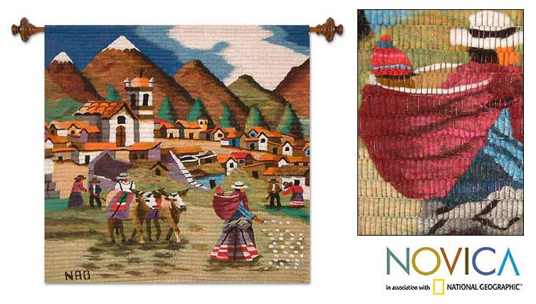 Wool 'Farm Family in The Sierra' Tapestry (Peru) - Thumbnail 0