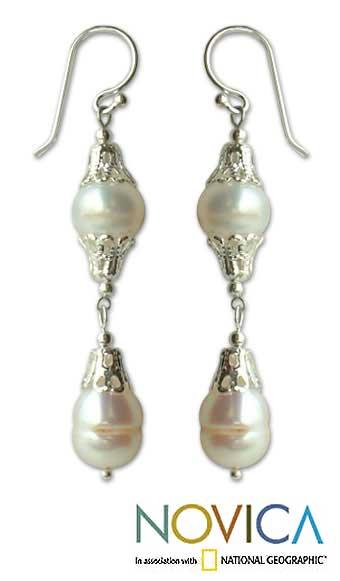 Handmade Sterling Silver 'Clouds' Pearl Drop Earrings (8 mm) (Thailand)