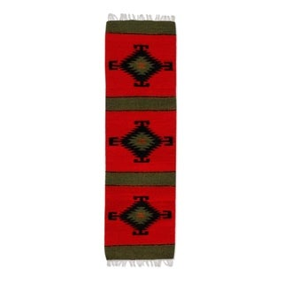 Handmade Forest Spirit Zapotec Wool Runner - 1' x 3'6 (Mexico)