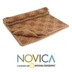 'Hypnotic Inca In Brown' Alpaca Wool Throw Blanket (Peru) - Thumbnail 1