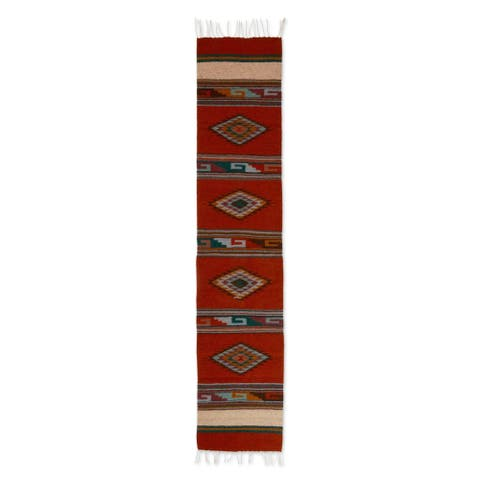 Handmade Zapotec wool table runner Fiery Sky (Mexico)