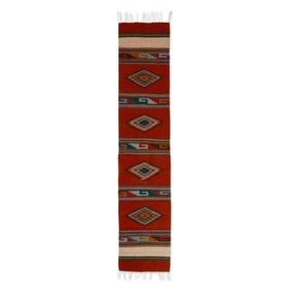 Fiery Sky Blue Purple Red Geometric Pattern 100% Wool Handmade Decor Accent Mexican Traditional Woven Table Runner (Mexico)