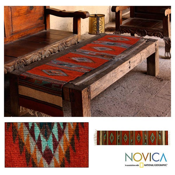 Fiery Sky Blue Purple Red Geometric Pattern 100% Wool Handmade Decor Accent  Mexican Traditional Woven