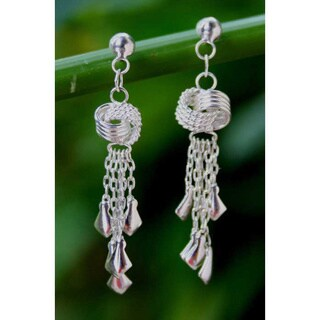Handmade Sterling Silver 'Love Knots' Waterfall Earrings (Thailand)