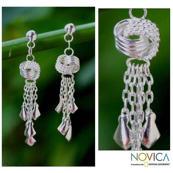 Handmade Sterling Silver 'Love Knots' Waterfall Earrings (Thailand)