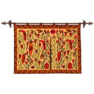 Handmade Bird Forest Traditional Inca Wool Tapestry (Peru)