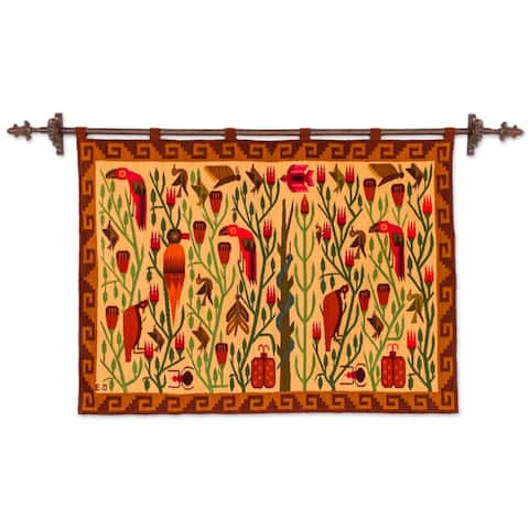 Bird Forest Artisan Design Handmade Traditional Inca Brown Tan Red Green Wall Hanging Home Decor Accent Wool Tapestry (Peru)