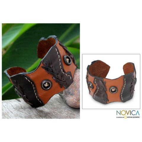Handmade Leather 'Chestnut Buttons' Cuff Bracelet (Thailand)