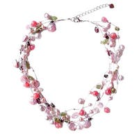 Handmade Silk 'Heritage' Pearl and Rose Quartz Beaded Necklace (5-8 mm) (Thailand)