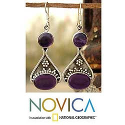 Handmade Sterling Silver Amethyst 'Renewal' Dangle Earrings (India)