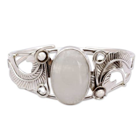 Handmade Sterling Silver 'Eternal Glow' Moonstone Cuff Bracelet (India) - White