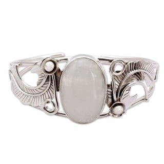 Handmade Sterling Silver 'Eternal Glow' Moonstone Cuff Bracelet (India)