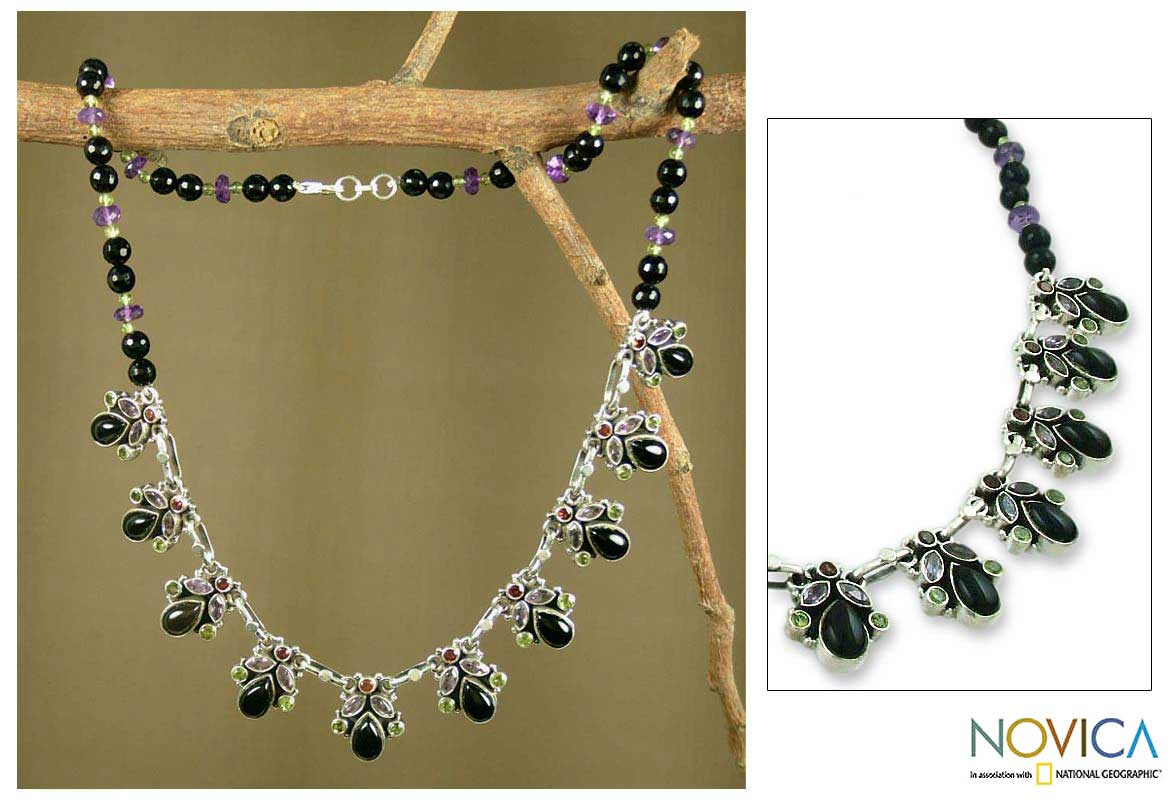 Handmade Sterling Silver Onyx 'Abundance' Waterfall Necklace (India)