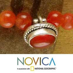 Handmade Sterling Silver Carnelian 'Love Song' Anklet (India)