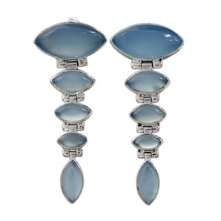 Handmade Sterling Silver 'India Blue' Chalcedony Dangle Earrings (India)