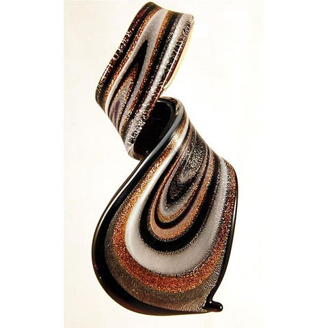 Handmade Murano Inspired Glass Black Gold Twisted Curl Pendant