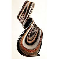 Murano Inspired Glass Black, White and Gold Twisted Curl Pendant