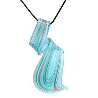 Glass Aqua Blue Twisted Curl Pendant - Aqua Blue