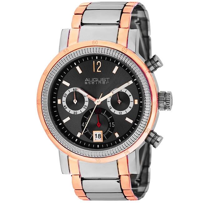 August Steiner Men's Quartz Chronograph Rose-Tone Watch