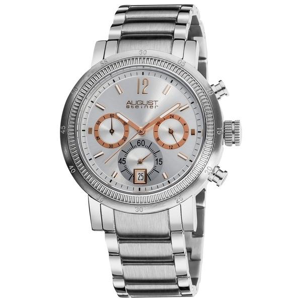 August Steiner Men's Quartz Water-Resistant Chronograph Silver-Tone Watch