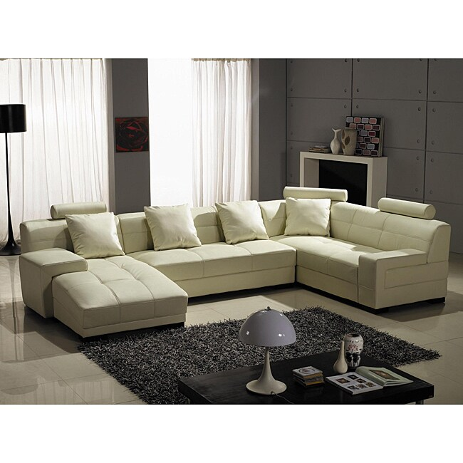 Sectional Sofa Sale Houston: Shop Houston Ivory Leather 3-piece Sectional Set