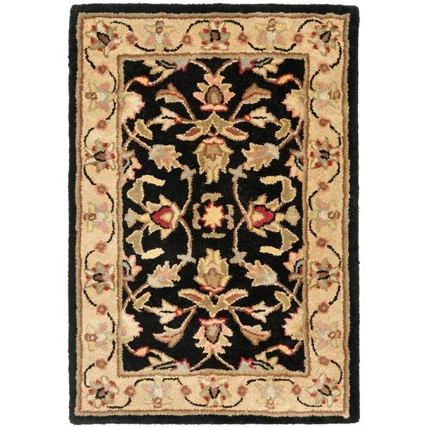 Safavieh Handmade Heritage Timeless Traditional Black/ Gold Wool Rug (2' x 3')