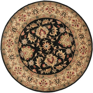 Safavieh Handmade Heritage Timeless Traditional Black/ Gold Wool Rug (3'6 Round)