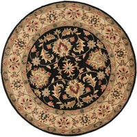 "Safavieh Handmade Heritage Timeless Traditional Black/ Gold Wool Rug - 3'6"" x 3'6"" round"