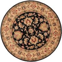"Safavieh Handmade Heritage Timeless Traditional Black/ Gold Wool Rug - 3'6"" x 3'6"" round"