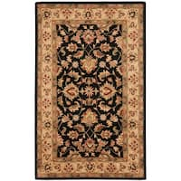 Safavieh Handmade Heritage Timeless Traditional Black/ Gold Wool Rug - 5' x 8'