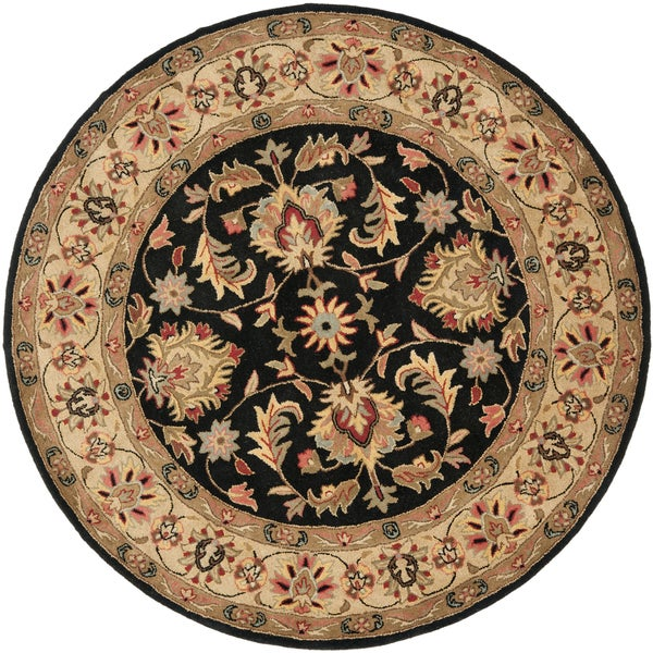 Safavieh Handmade Heritage Timeless Traditional Black/ Gold Wool Rug (6' Round)