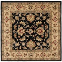 Safavieh Handmade Heritage Timeless Traditional Black/ Gold Wool Rug - 6' x 6' Square