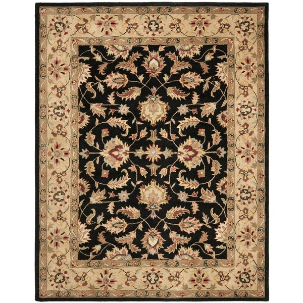 Safavieh Handmade Heritage Timeless Traditional Black/ Gold Wool Rug - 7'6 x 9'6