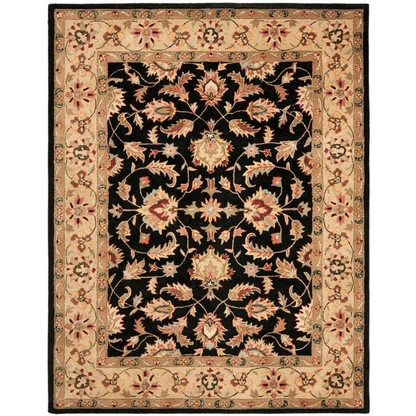 "Safavieh Handmade Heritage Timeless Traditional Black/ Gold Wool Rug - 7'6"" x 9'6"""