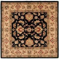 Safavieh Handmade Heritage Timeless Traditional Black/ Gold Wool Rug - 8' x 8' Square