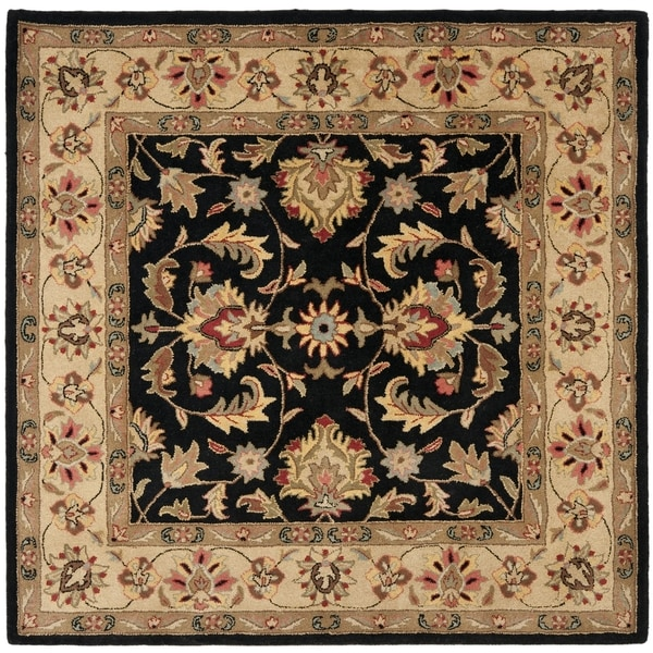 Safavieh Handmade Heritage Timeless Traditional Black/ Gold Wool Rug (8' Square)