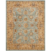"Safavieh Handmade Heritage Timeless Traditional Blue/ Gold Wool Rug - 9'-6"" x 13'-6"""