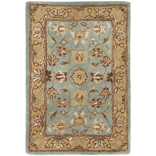 Safavieh Handmade Heritage Timeless Traditional Blue/ Gold Wool Rug (2' x 3')