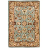 Safavieh Handmade Heritage Timeless Traditional Blue/ Gold Wool Rug - 2' X 3'