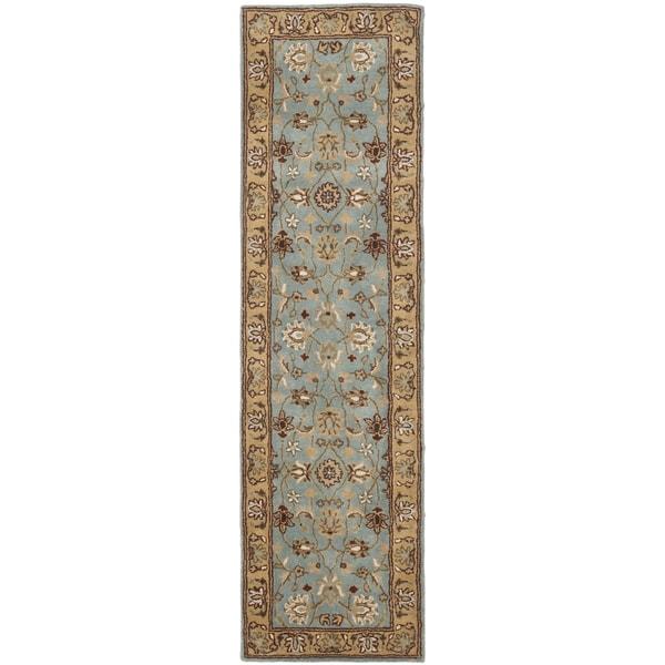 Safavieh Handmade Heritage Timeless Traditional Blue/ Gold Wool Runner (2'3 x 12')