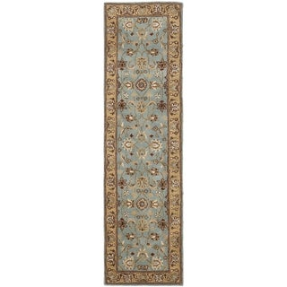 Safavieh Handmade Heritage Timeless Traditional Blue/ Gold Wool Runner (2'3 x 14')