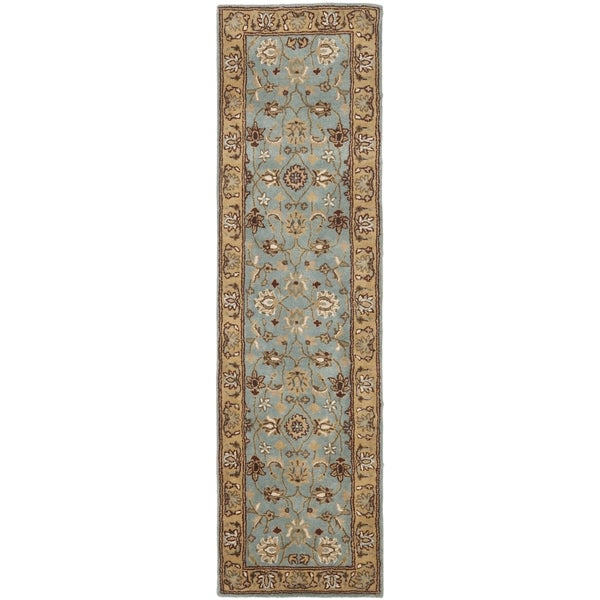 Safavieh Handmade Heritage Timeless Traditional Blue/ Gold Wool Runner (2'3 x 8')