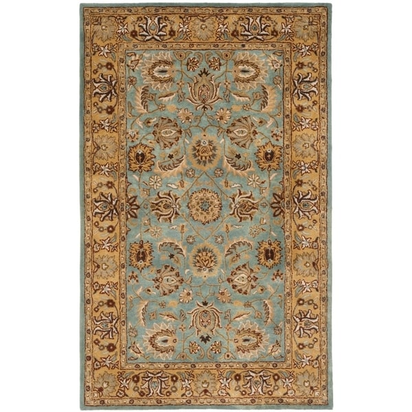 Safavieh Handmade Heritage Timeless Traditional Blue/ Gold Wool Rug - 4' x 6'