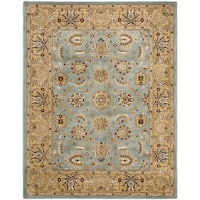 Safavieh Handmade Heritage Timeless Traditional Blue/ Gold Wool Rug - 5' x 8'